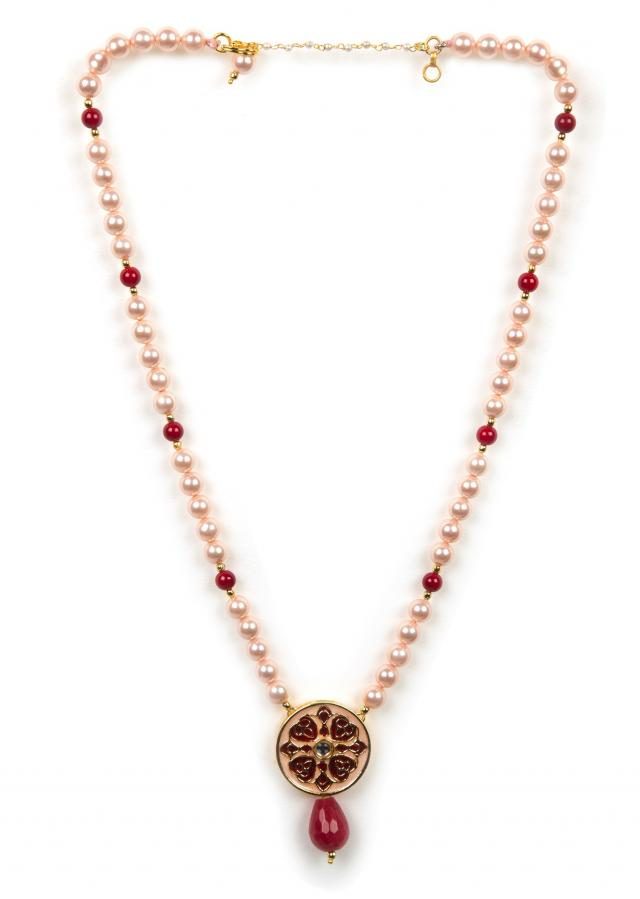 Maroon and baby pink beaded necklace only on Kalki