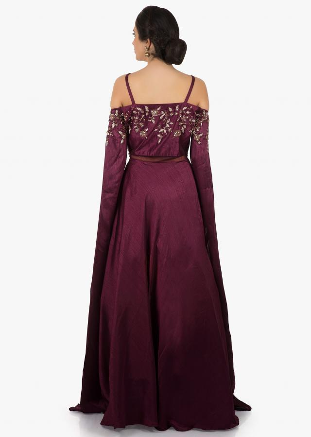 Maroon silk gown embellished in gota lace and sequin work only on Kalki