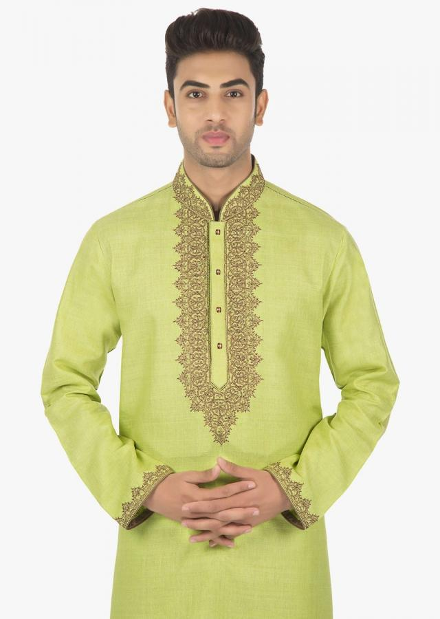 Matka Green Silk Kurta with polyester silk Sandal Brown chudidar set only on Kalki