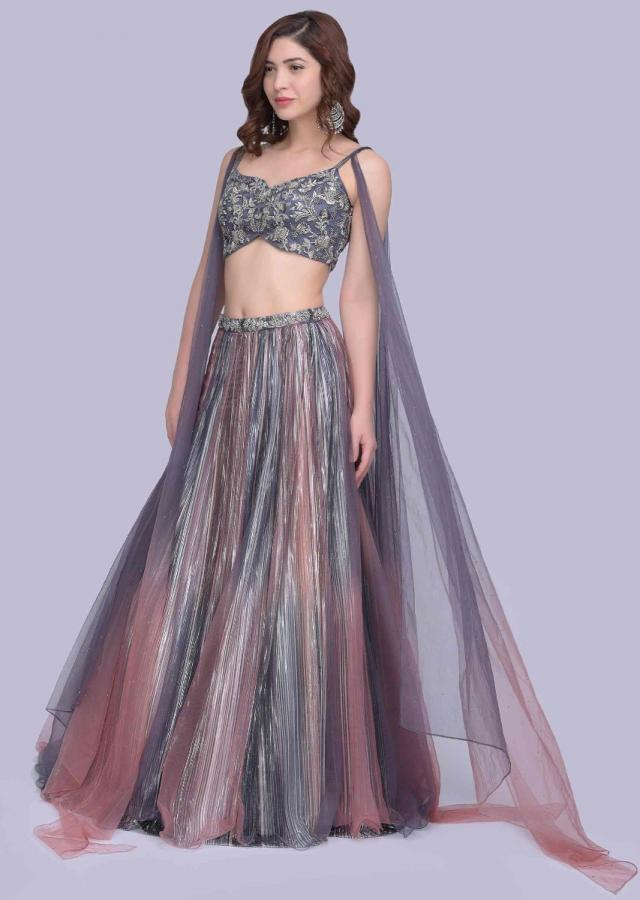 Mauve Pink And Grey Shaded Lehenga Paired With A Fancy Crop Top With Shaded Side Flares Online - Kalki Fashion