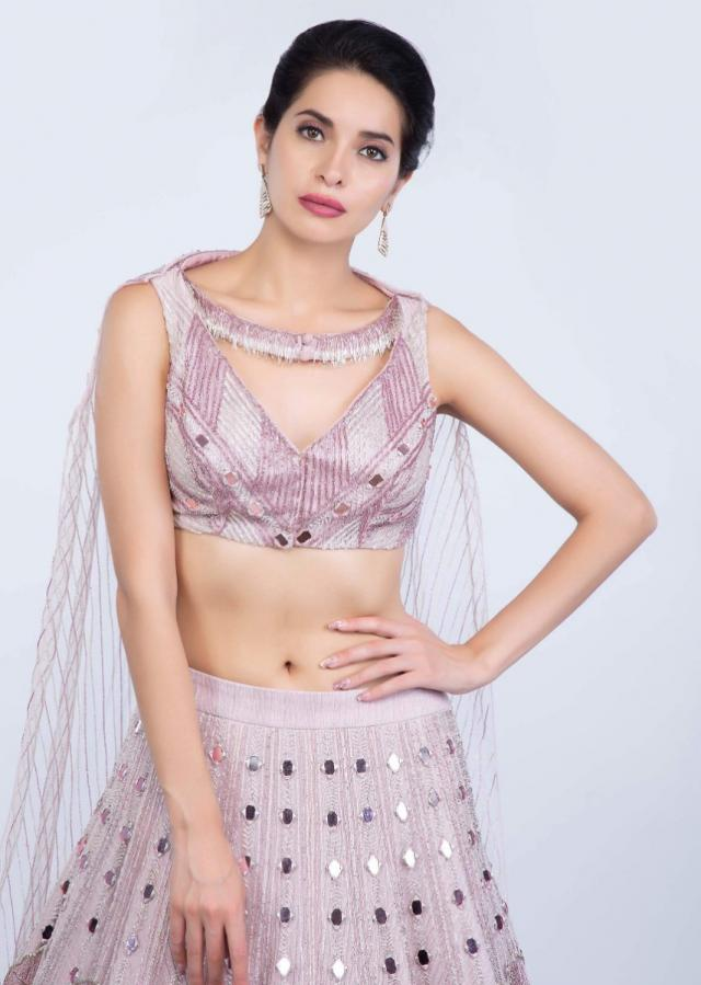 Mauve pink mirror embroidered lehenga with fancy blouse designed with attached dupatta only on Kalki