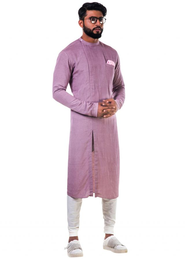 Mauve yellow round neck side slit zipper kurta set only on Kalki