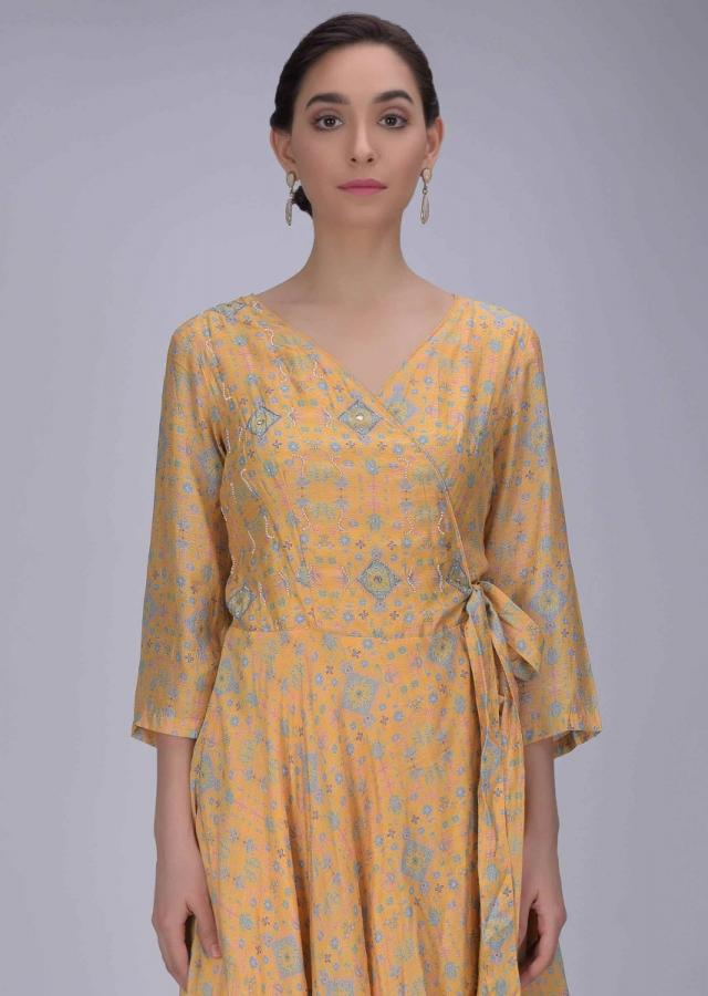 Mellow Yellow Angrakha Dress In Cotton With Tribal Print Online - Kalki Fashion