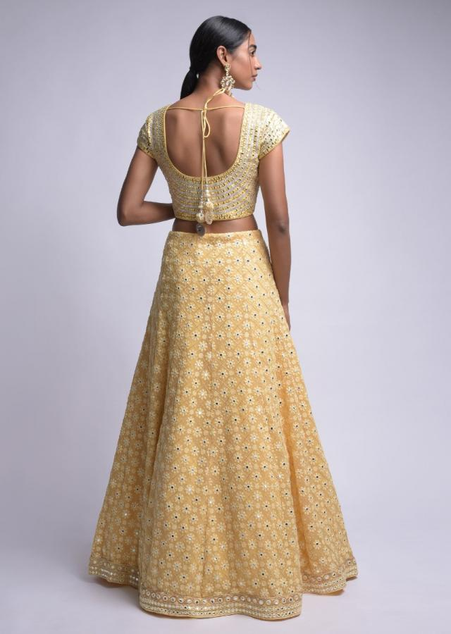Mellow Yellow Lehenga Choli With Lucknowi And Abla Work In Floral Buttis Online - Kalki Fashion