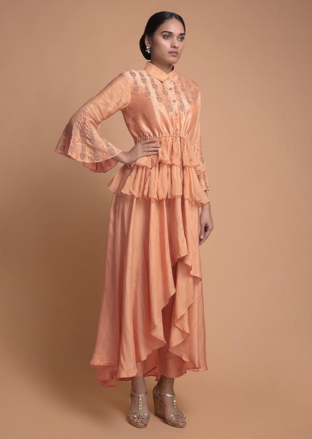 Melon Peach Suit With Layered Peplum Top And Straight Cut Pants Online - Kalki Fashion