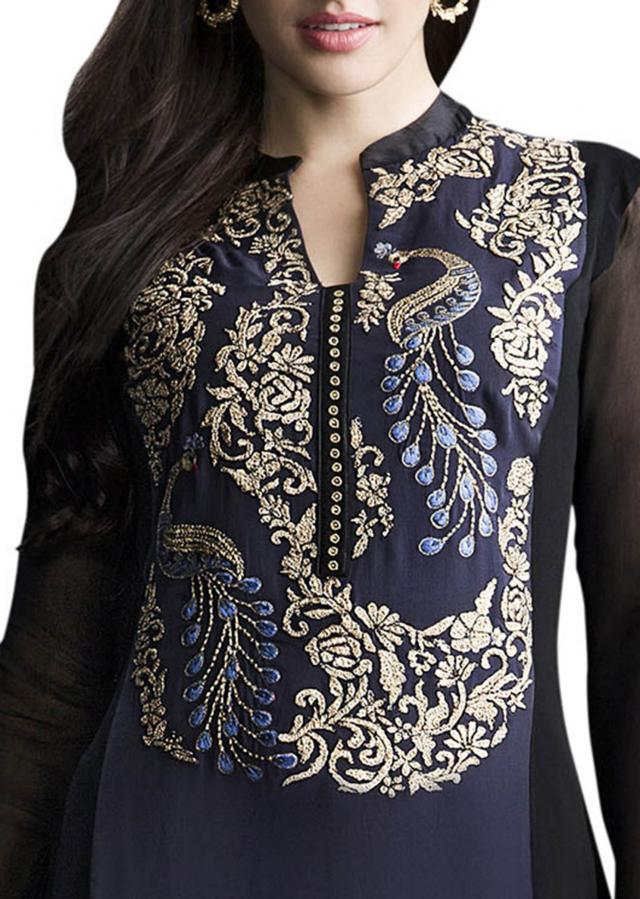Black and midnight blue kurta with churidar pants