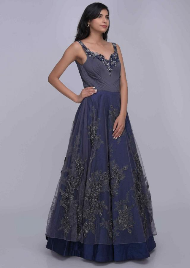 Midnight blue and grey embroidered ethnic gown only on Kalki