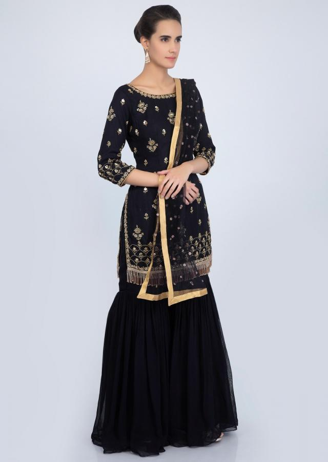 Midnight Blue Suit Set In Georgette With Embroidered Butti And Border Online - Kalki Fashion