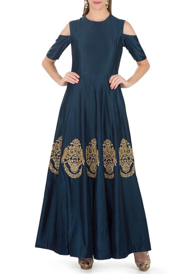 Midnight Blue Cold Shoulder Cotton Dress with Embroidered Butti in Sequins, Cut Dana and Zardosi only on Kalki