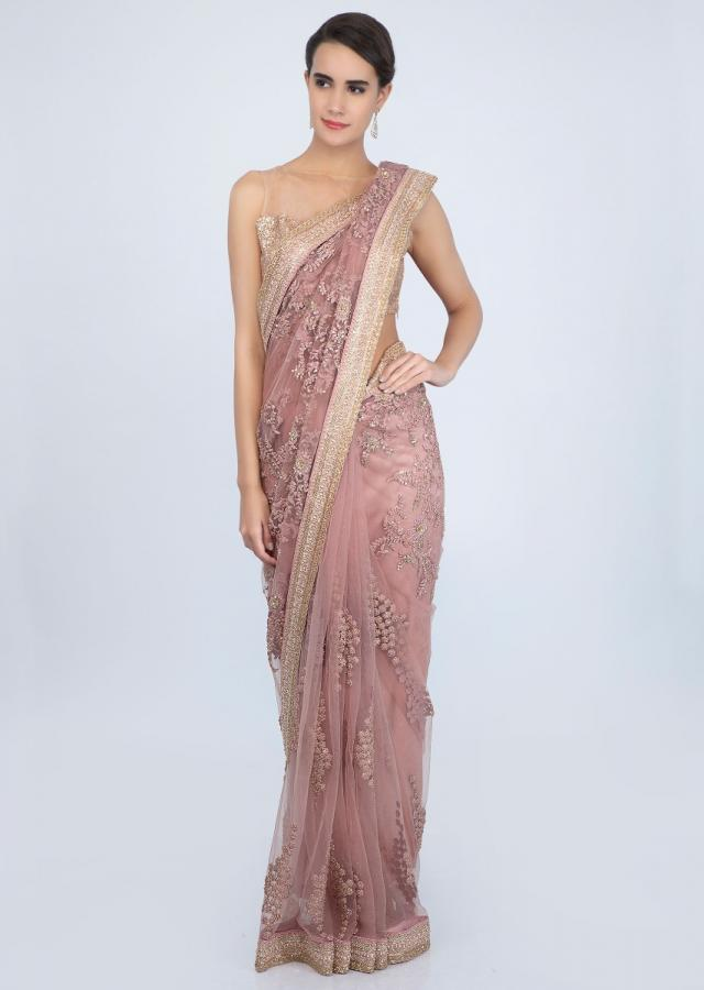Millennial pink sheer net saree self thread embroidered butti with kundan only on Kalki