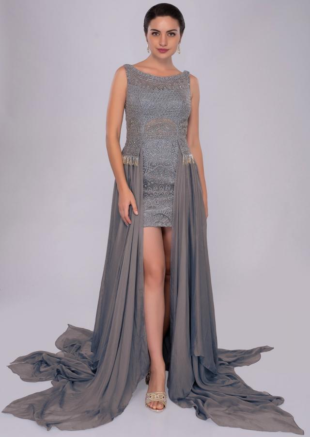 Mineral alloy blue thigh length short with flat chiffon trail from the waist only on Kalki