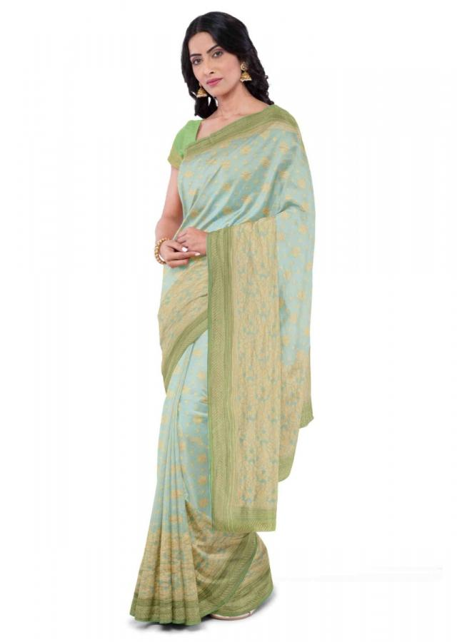 Mint Blue Saree In Chiffon With Green Blouse Piece Online - Kalki Fashion