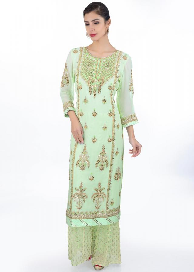 Mint Green Suit In Georgette With Straight Kali Paired With Weaved Palazzo And Matching Chiffon Dupatta Online - Kalki Fashion