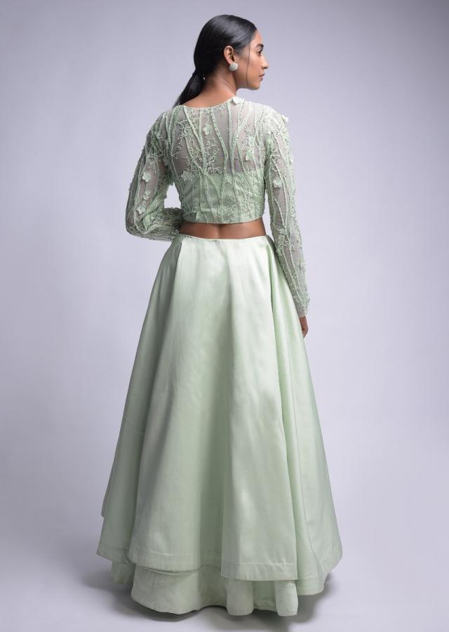Mint Green Lehenga Choli With 3D Floral Embroidery Online - Kalki Fashion