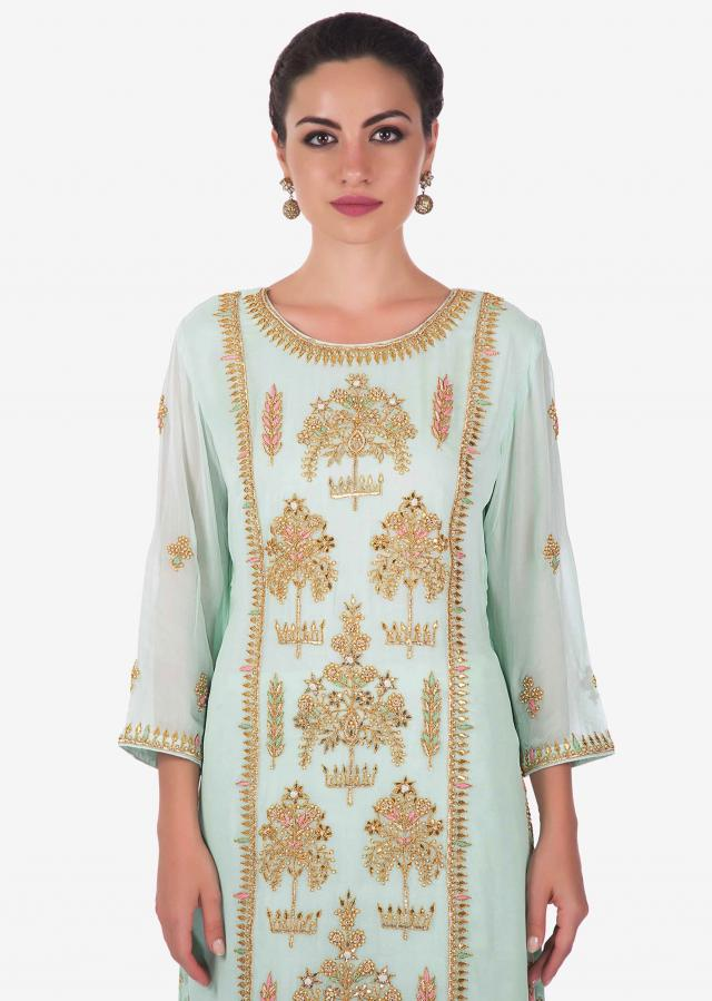 Mint green palazzo suit in georgette with embroidered center panel only on Kalki