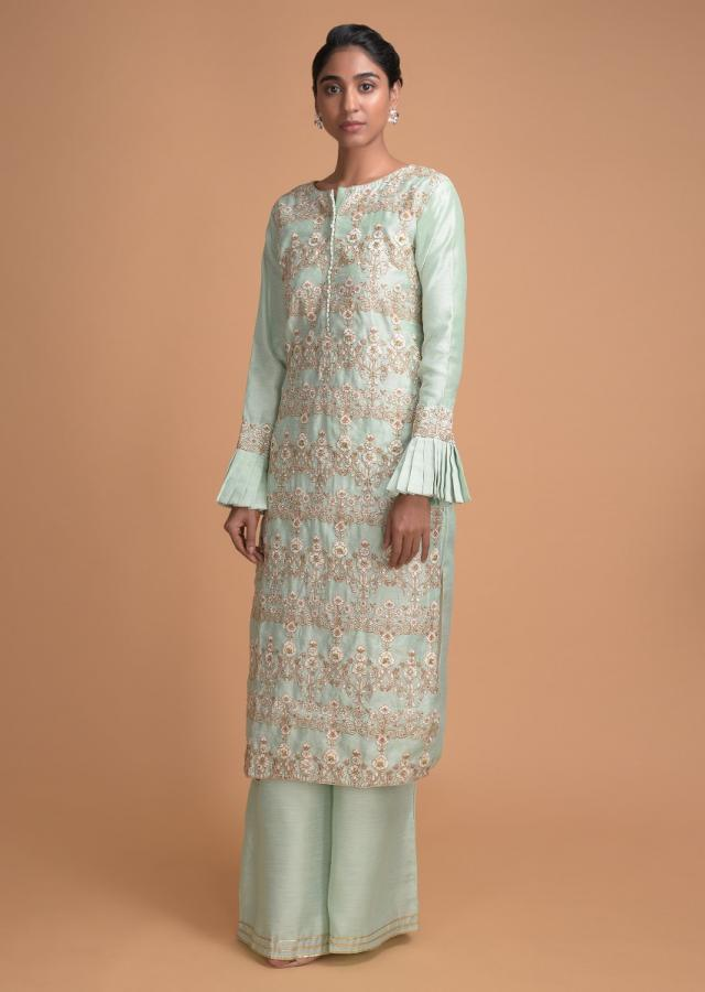 Mint Green Palazzo Suit With Thread And Zari Embroidered Floral Pattern Online - Kalki Fashion