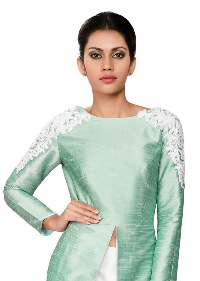 Mint green raw silk tunic with front and side slit