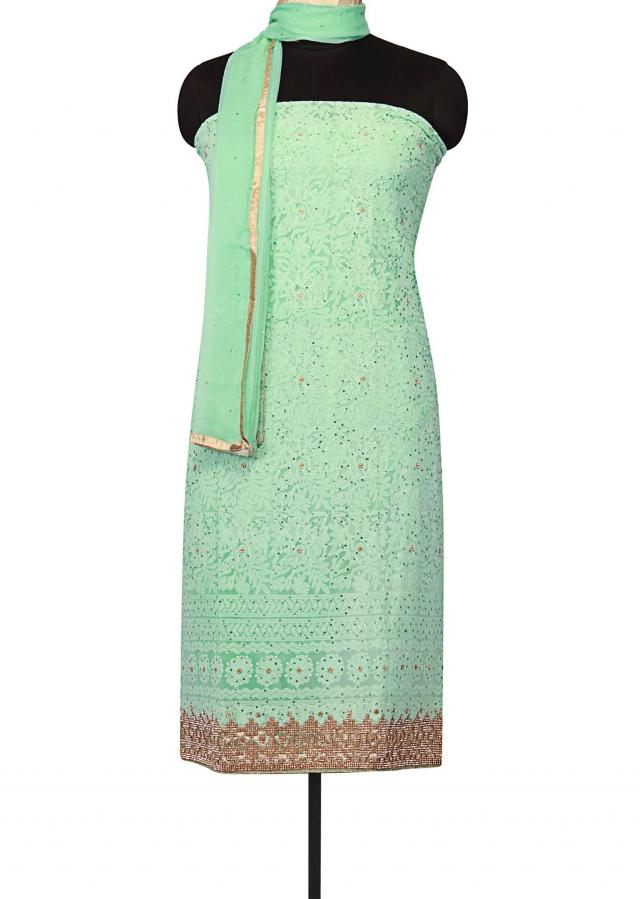 Mint green unstitched suit lucknowi thread embroidery only on Kalki