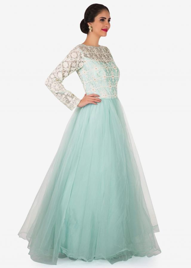 Mint blue gown in net with thread embroidered bodice only on Kalki