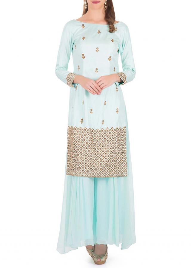 Mint Blue Silk Top Styled with Zardosi and Cut Dana Work and Georgette Palazzos only on Kalki