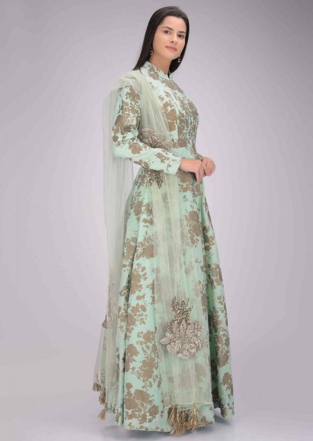 Mint Green Gown In Cotton With Floral Print Online - Kalki Fashion