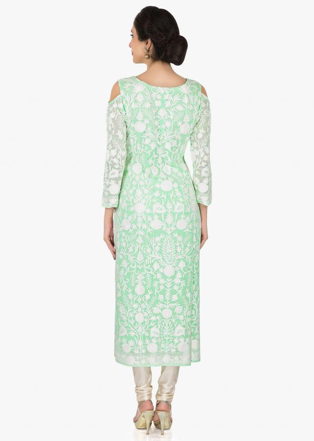 Mint green georgette kurti adorn in beautiful thread work only on Kalki