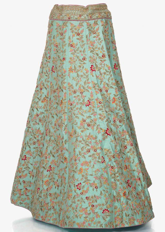 Mint green lehenga in raw silk enhanced in resham and sequin embroidery only on Kalki
