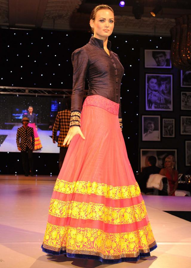 Models showcasing Manish Malhotra festive collection celebrating 100 years of indian cinema in London 05
