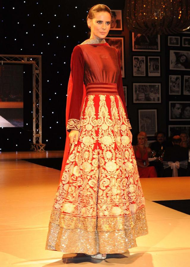 Models showcasing Manish Malhotra festive collection celebrating 100 years of indian cinema in London 13