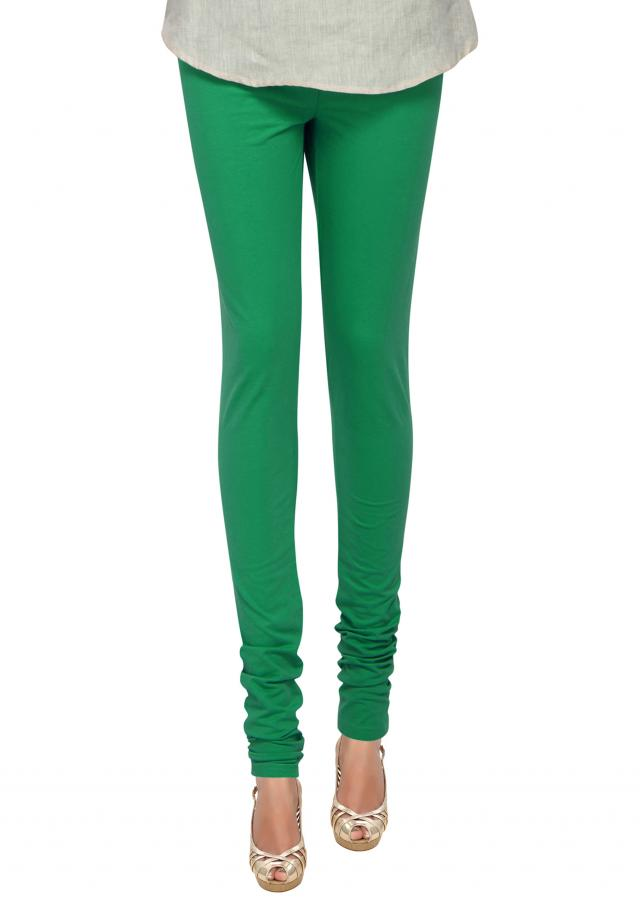 Moss green cotton hosiery legging only on Kalki