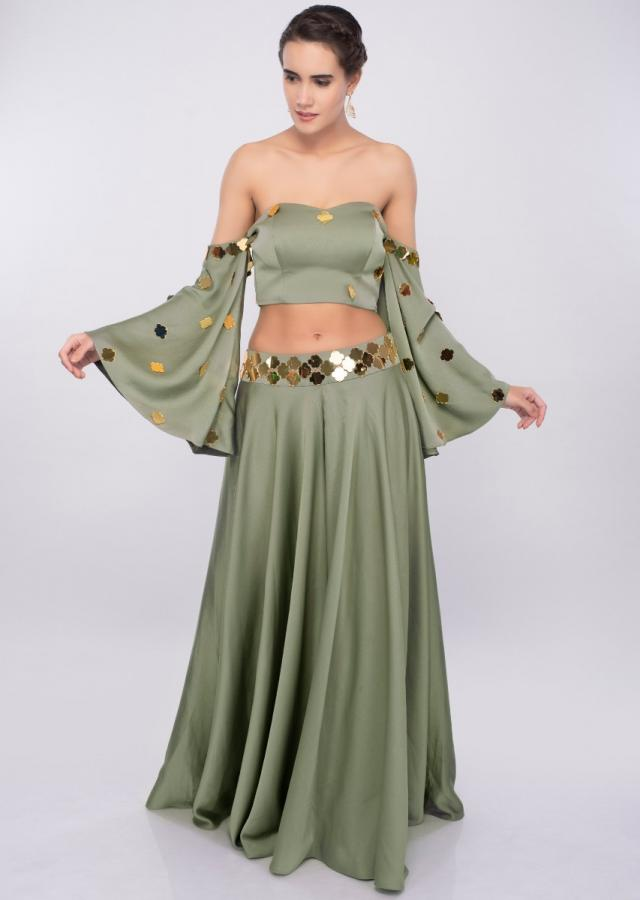 Moss green off shoulder crop top with flared palazzo only on Kalki