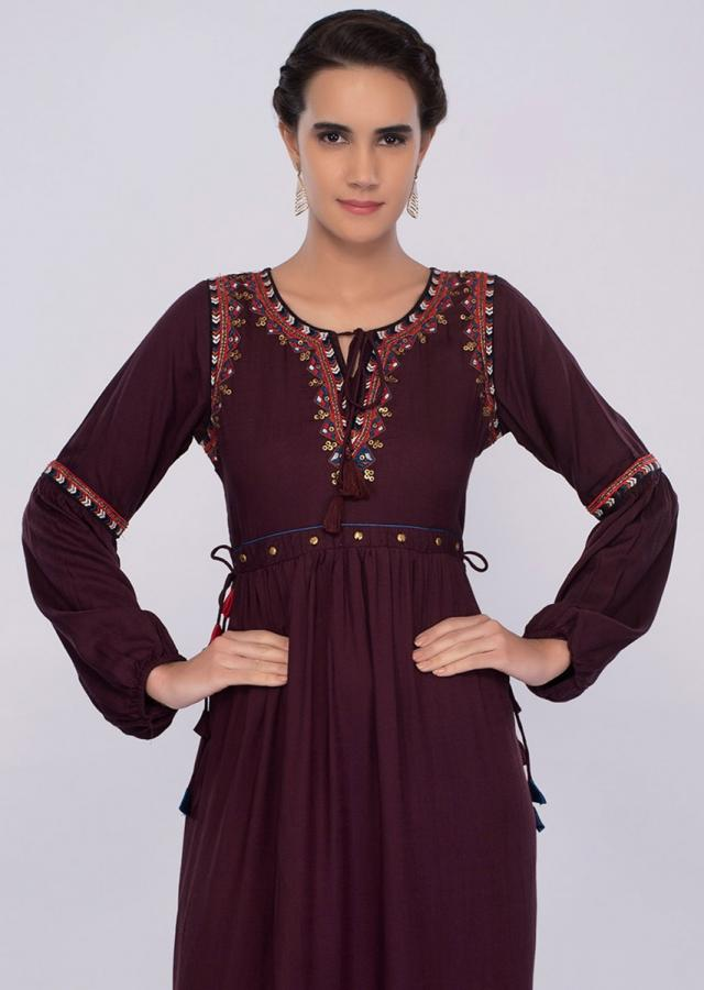 Mulberry cotton tunic dress with gathers with gathers only on kalki
