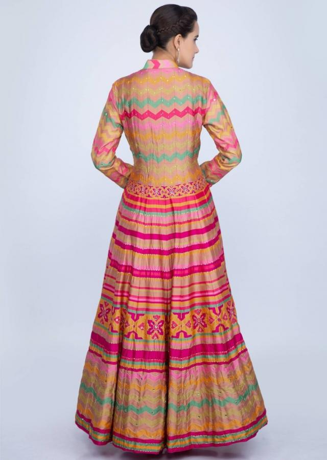 Multi Color Anarkali In Cotton Silk With Abstract And Tribal Motif Online - Kalki Fashion