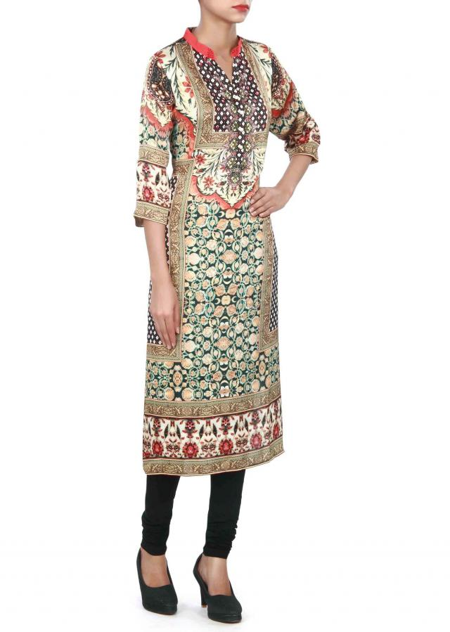 Multi color kurti in digital print and fancy buttons only on Kalki
