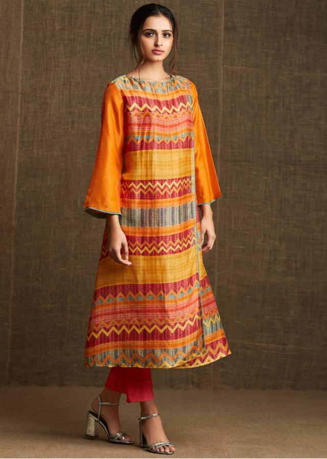 Multi color kurti in silk with self and zig zag print