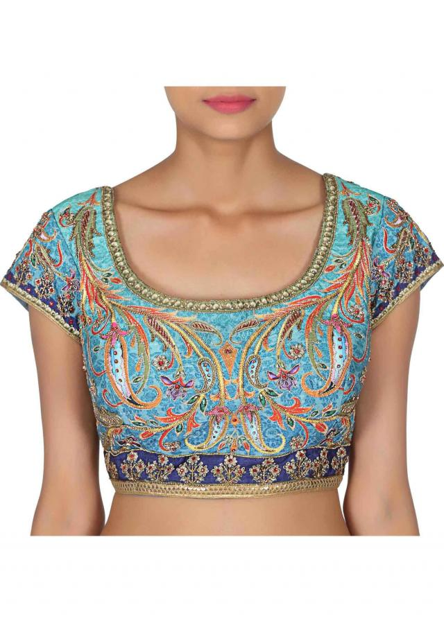 Multi color lehenga adorn in printed and kardana embroidery only on Kalki