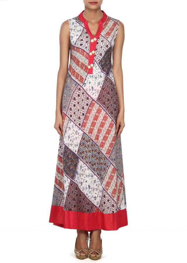 Multi color long printed kurti in fancy buttons only on Kalki