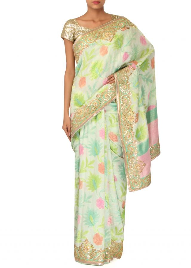 Multi color printed saree adorn in gotta patch border only on Kalki