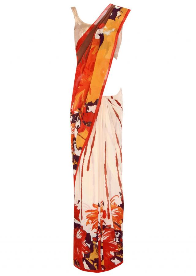 Multi color saree in abstract print only on Kalki