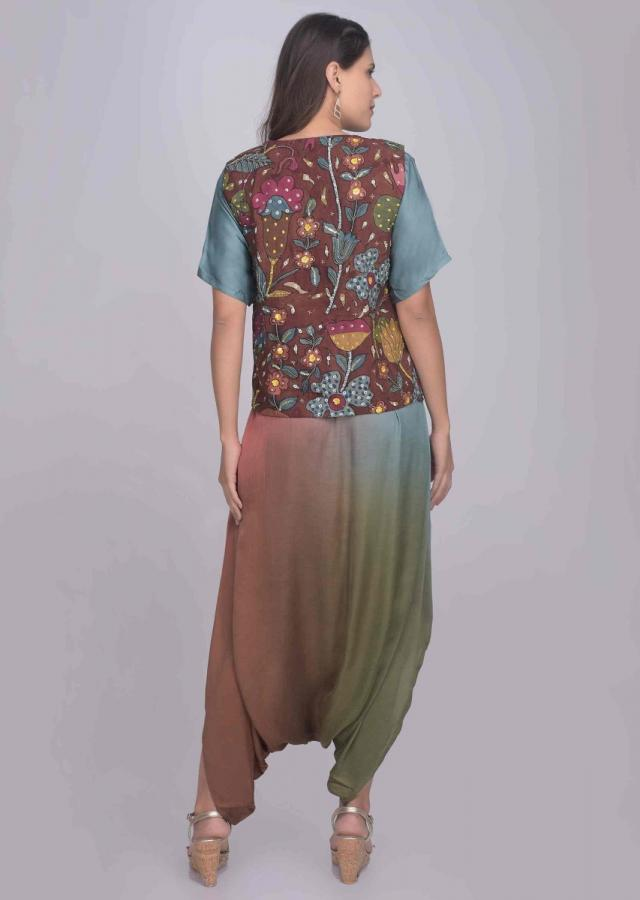 Multi Color Jumpsuit In Satin With Printed Jacket Online - Kalki Fashion
