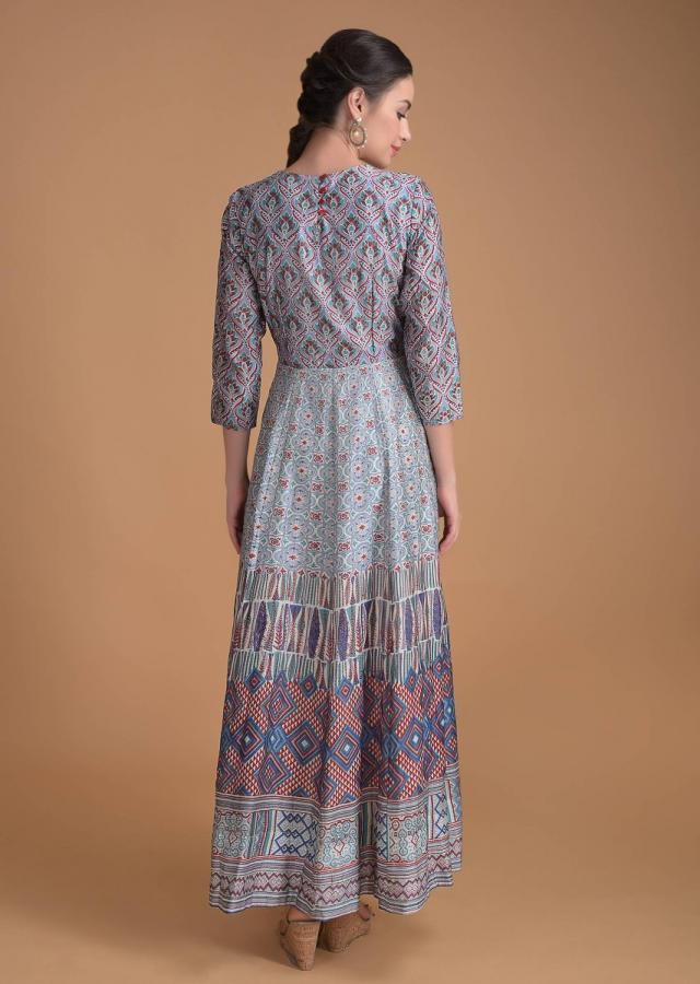 Multi Colored Anarkali Dress With Moroccan And Geometric Print Online - Kalki Fashion