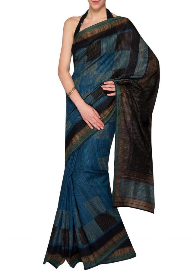 Multi-colored silk saree with geometric motifs only on Kalki