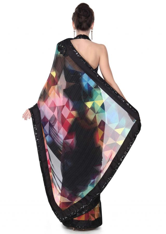 Multi color geometric printed saree with sequin border only on Kalki