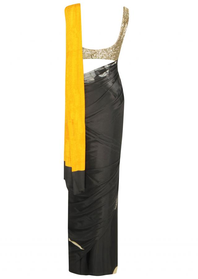 Black and cream saree with abstract print only on Kalki