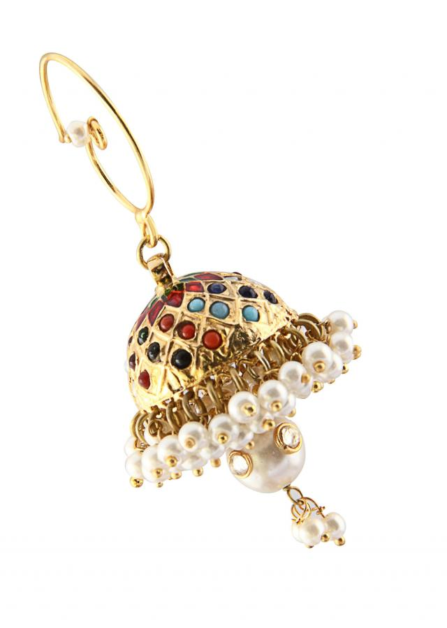 Multi-coloured Jhumka with pearl drop only on Kalki