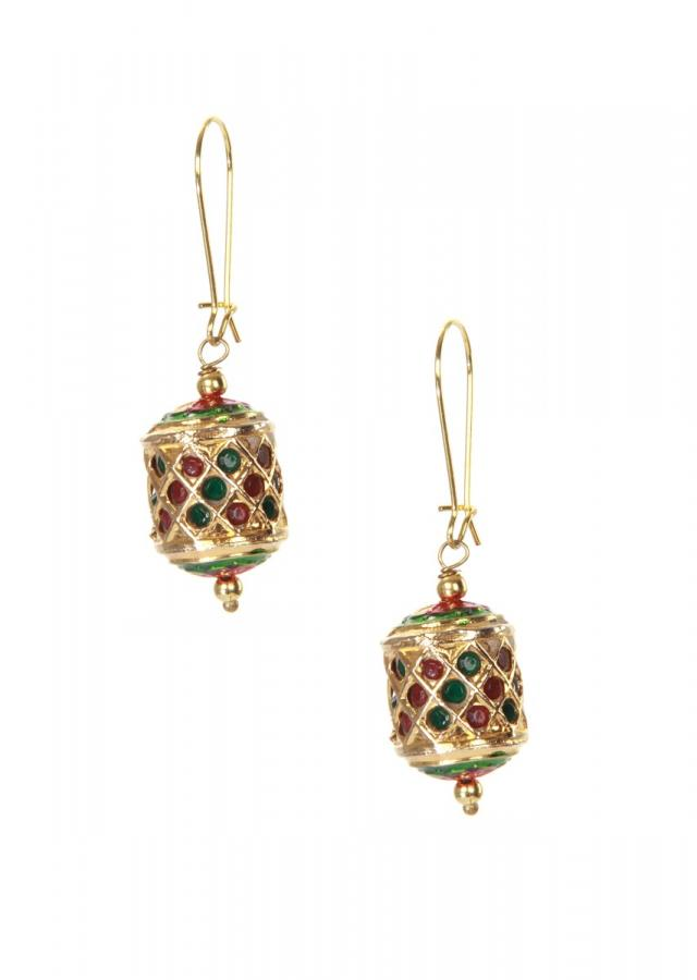 Multi color hoop jhumkis adorn in kundan droopers only on kalki