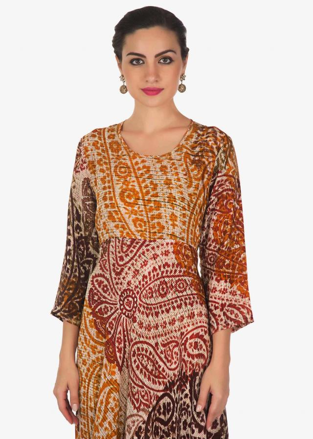 Multi color kurti with self print and cowl drape only on Kalki