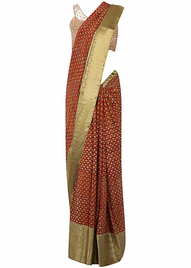 Multi Color Saree In Georgette With Jaal Print Online - Kalki Fashion