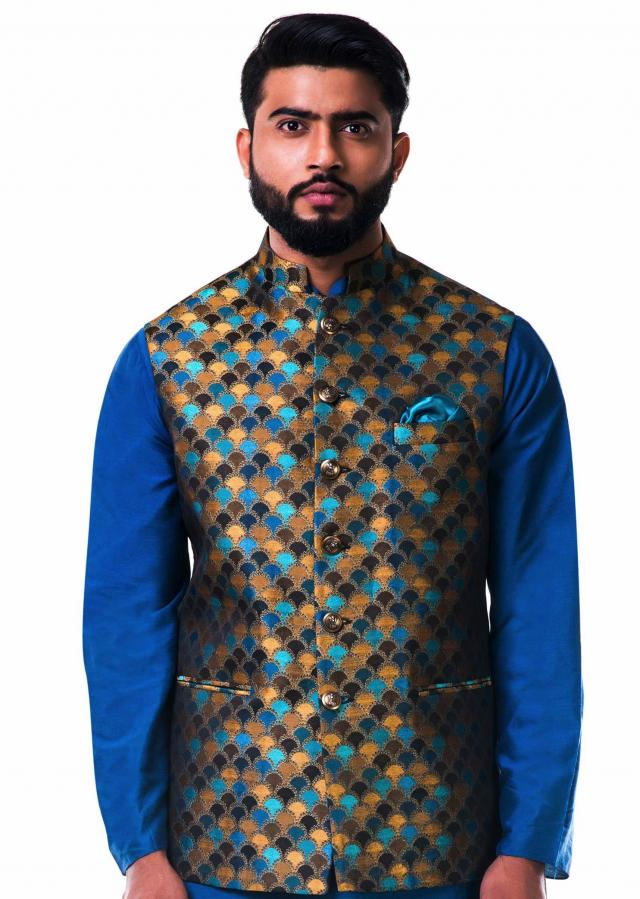 Multicolour scallop nehru jacket only on Kalki