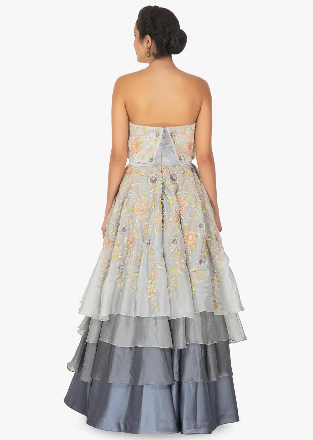 Grey Shaded Strapless Gown With Multiple Layers Online - Kalki Fashion